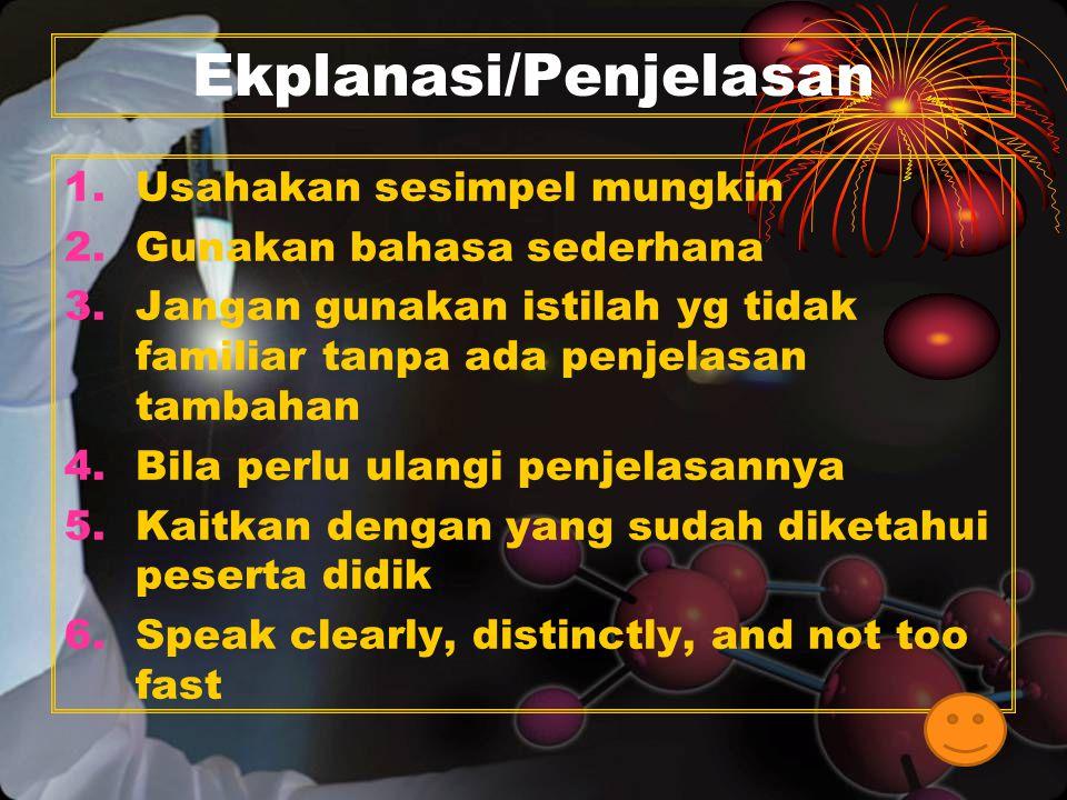 11 Ekplanasi/Penjelasan 1.Usahakan sesimpel mungkin 2.Gunakan bahasa sederhana 3.Jangan gunakan istilah yg tidak familiar tanpa ada penjelasan tambaha