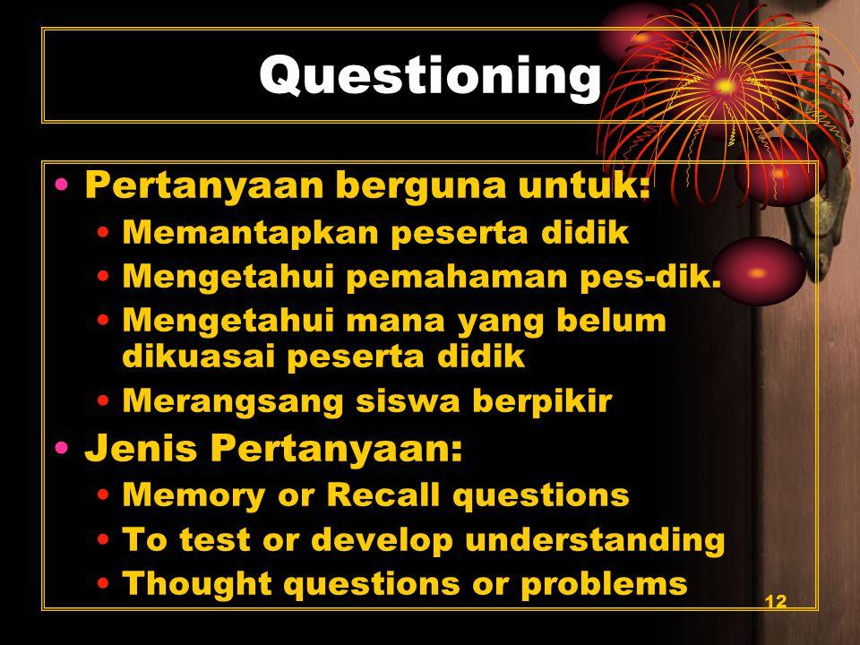 12 Questioning Pertanyaan berguna untuk: Memantapkan peserta didik Mengetahui pemahaman pes-dik.