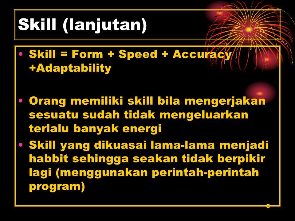 6 Skill (lanjutan) Skill = Form + Speed + Accuracy +Adaptability Orang memiliki skill bila mengerjakan sesuatu sudah tidak mengeluarkan terlalu banyak