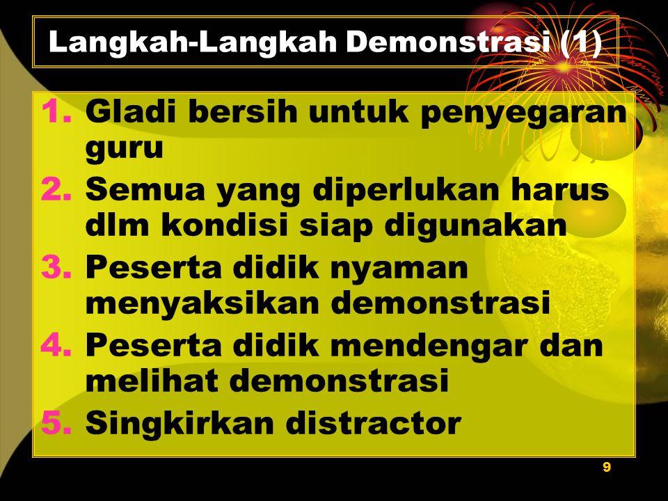 9 Langkah-Langkah Demonstrasi (1) 1.Gladi bersih untuk penyegaran guru 2.Semua yang diperlukan harus dlm kondisi siap digunakan 3.Peserta didik nyaman