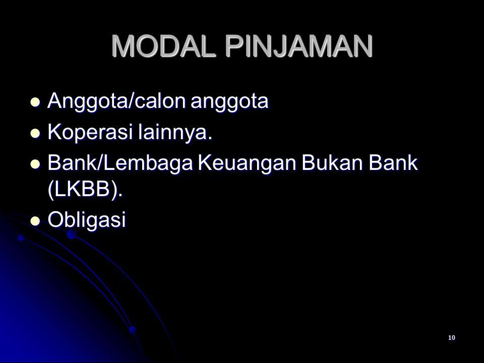 10 MODAL PINJAMAN Anggota/calon anggota Anggota/calon anggota Koperasi lainnya. Koperasi lainnya. Bank/Lembaga Keuangan Bukan Bank (LKBB). Bank/Lembag