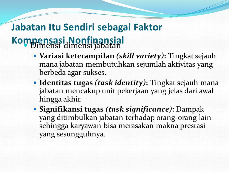 Jabatan Itu Sendiri sebagai Faktor Kompensasi Nonfinansial Dimensi-dimensi jabatan Variasi keterampilan (skill variety): Tingkat sejauh mana jabatan m