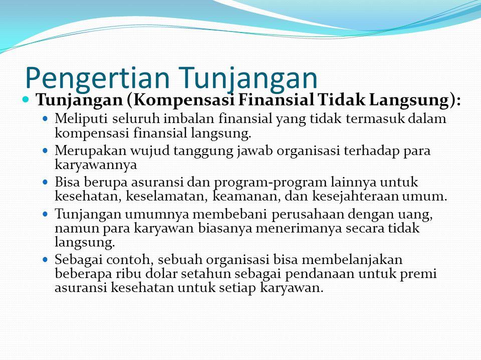 Pengertian Tunjangan Tunjangan (Kompensasi Finansial Tidak Langsung): Meliputi seluruh imbalan finansial yang tidak termasuk dalam kompensasi finansia