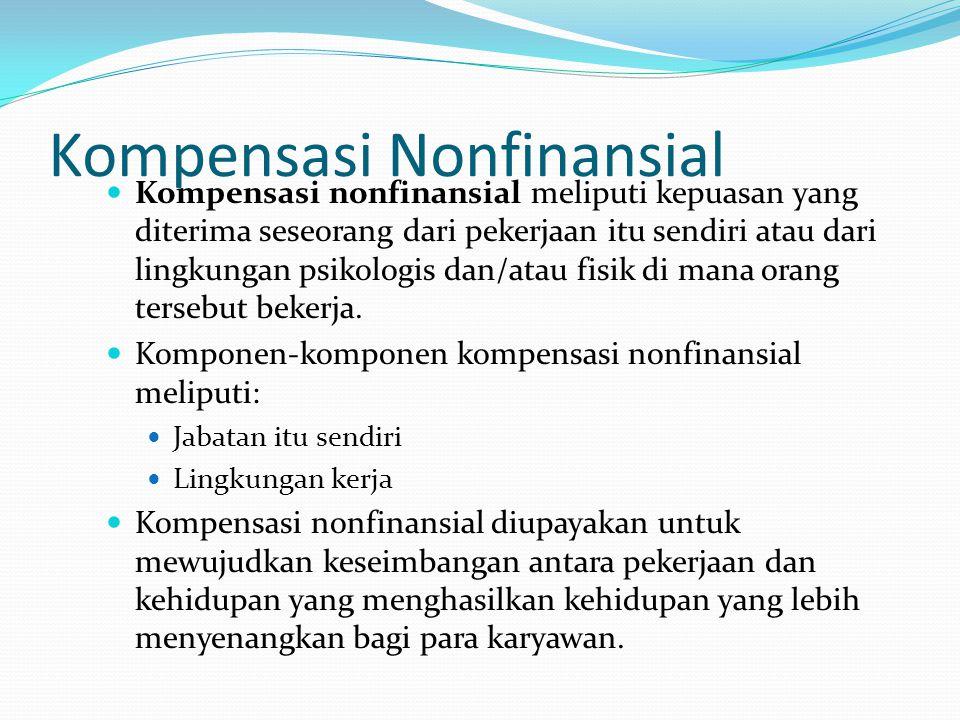 Kompensasi Nonfinansial Kompensasi nonfinansial meliputi kepuasan yang diterima seseorang dari pekerjaan itu sendiri atau dari lingkungan psikologis d