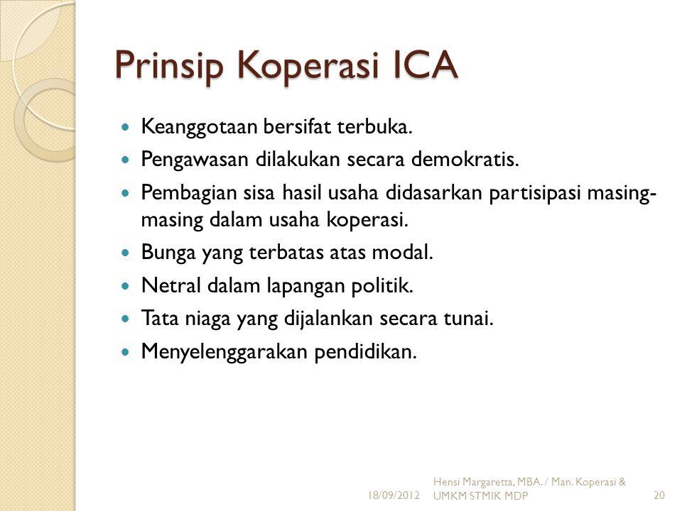 Prinsip Koperasi ICA Keanggotaan bersifat terbuka. Pengawasan dilakukan secara demokratis. Pembagian sisa hasil usaha didasarkan partisipasi masing- m