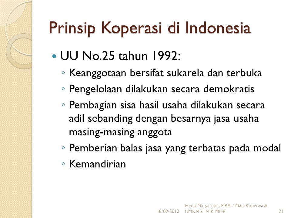 Prinsip Koperasi di Indonesia UU No.25 tahun 1992: ◦ Keanggotaan bersifat sukarela dan terbuka ◦ Pengelolaan dilakukan secara demokratis ◦ Pembagian s