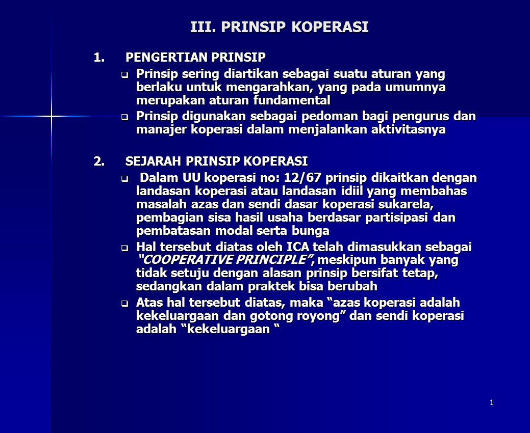 1 III. PRINSIP KOPERASI 1.PENGERTIAN PRINSIP  Prinsip sering diartikan sebagai suatu aturan yang berlaku untuk mengarahkan, yang pada umumnya merupak