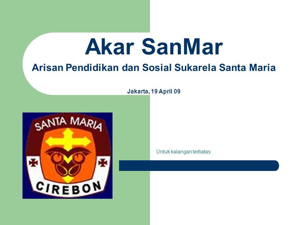 Akar SanMar Arisan Pendidikan dan Sosial Sukarela Santa Maria Jakarta, 19 April 09 Untuk kalangan terbatas