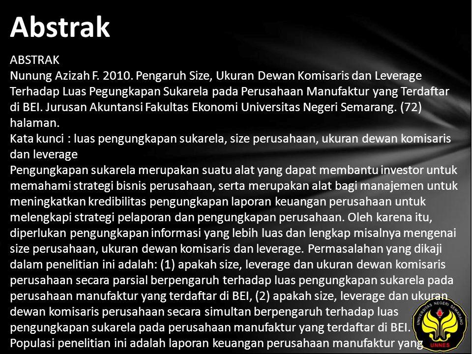 Abstrak ABSTRAK Nunung Azizah F. 2010.