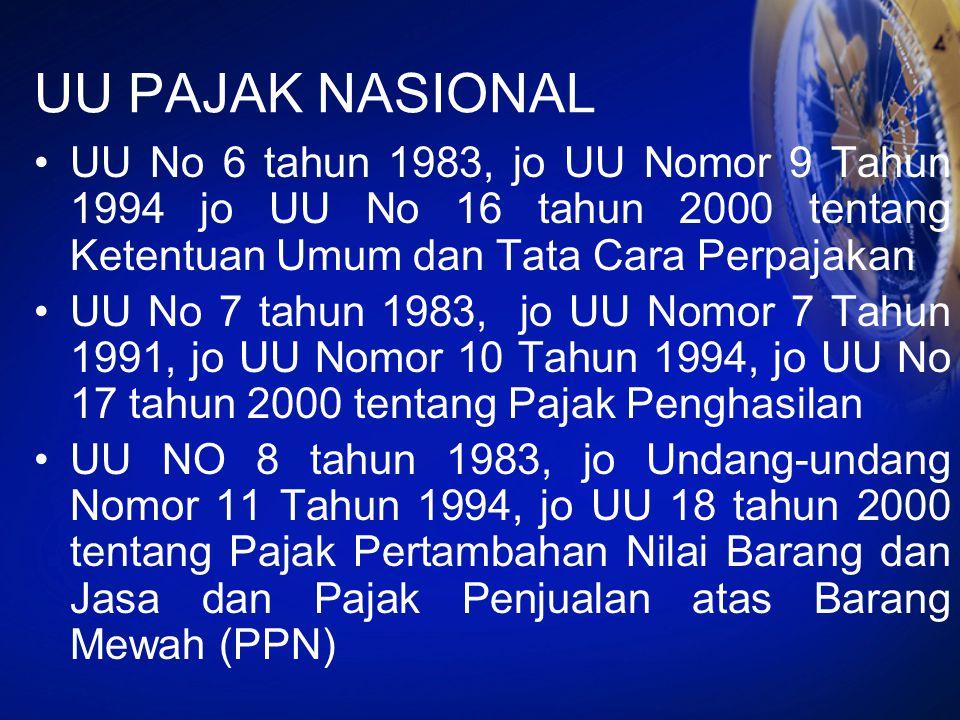 UU PAJAK NASIONAL UU No 6 tahun 1983, jo UU Nomor 9 Tahun 1994 jo UU No 16 tahun 2000 tentang Ketentuan Umum dan Tata Cara Perpajakan UU No 7 tahun 19