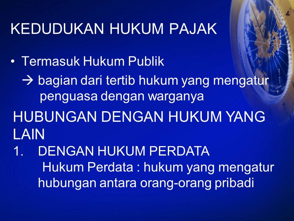 KEDUDUKAN HUKUM PAJAK Termasuk Hukum Publik  bagian dari tertib hukum yang mengatur penguasa dengan warganya HUBUNGAN DENGAN HUKUM YANG LAIN 1.DENGAN