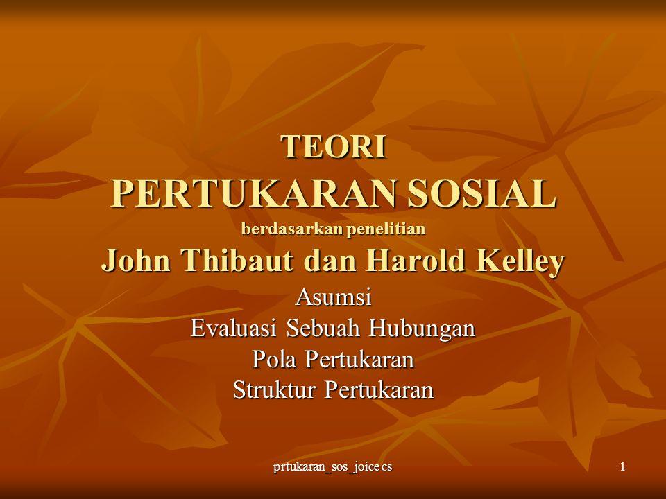 prtukaran_sos_joice cs 1 TEORI PERTUKARAN SOSIAL berdasarkan penelitian John Thibaut dan Harold Kelley Asumsi Evaluasi Sebuah Hubungan Pola Pertukaran