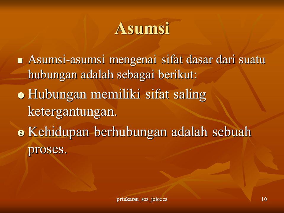 prtukaran_sos_joice cs10 Asumsi Asumsi-asumsi mengenai sifat dasar dari suatu hubungan adalah sebagai berikut: Asumsi-asumsi mengenai sifat dasar dari
