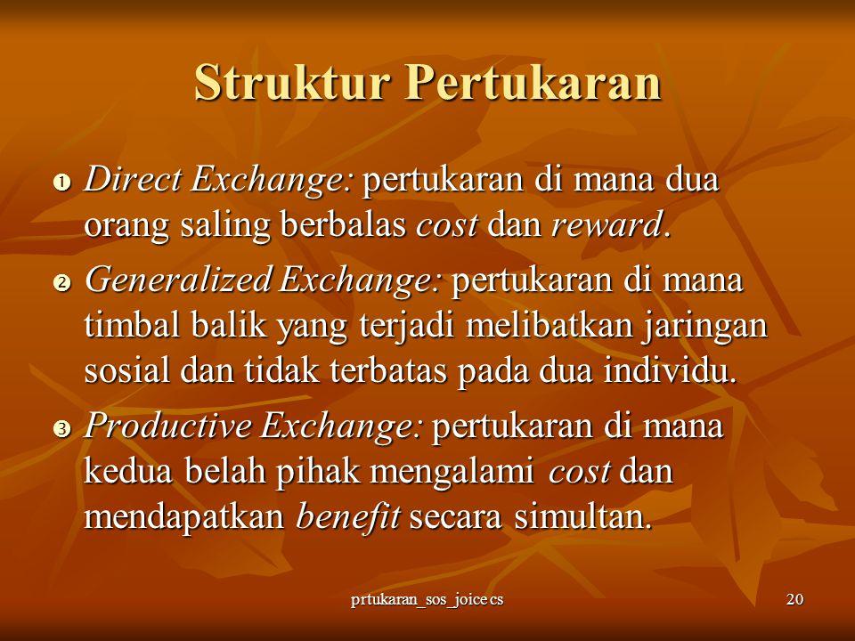 prtukaran_sos_joice cs20 Struktur Pertukaran  Direct Exchange: pertukaran di mana dua orang saling berbalas cost dan reward.  Generalized Exchange: