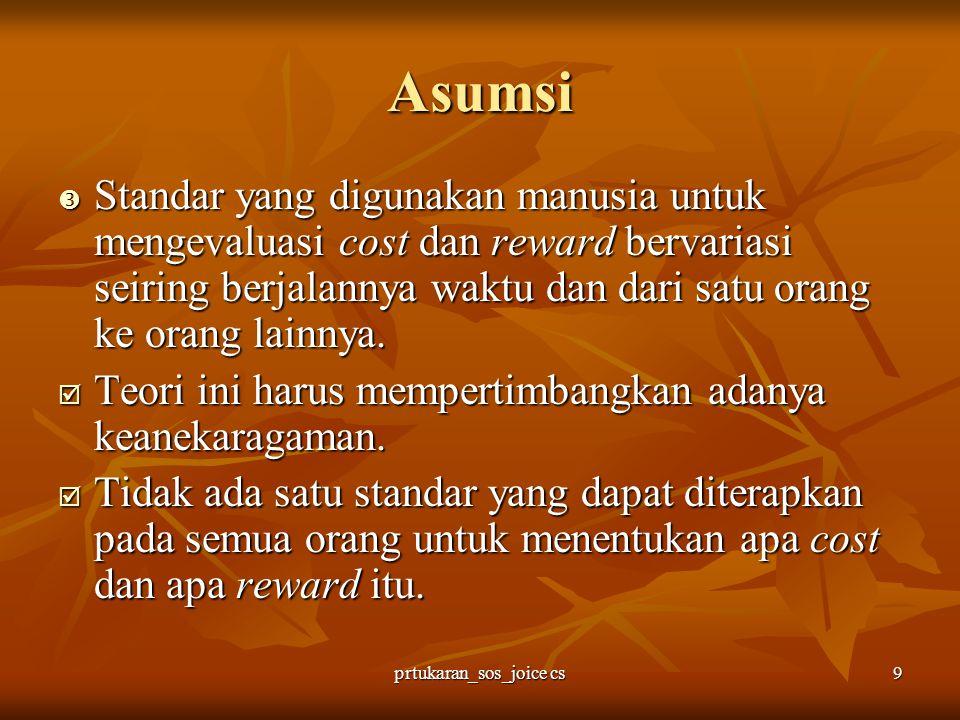 prtukaran_sos_joice cs10 Asumsi Asumsi-asumsi mengenai sifat dasar dari suatu hubungan adalah sebagai berikut: Asumsi-asumsi mengenai sifat dasar dari suatu hubungan adalah sebagai berikut:  Hubungan memiliki sifat saling ketergantungan.
