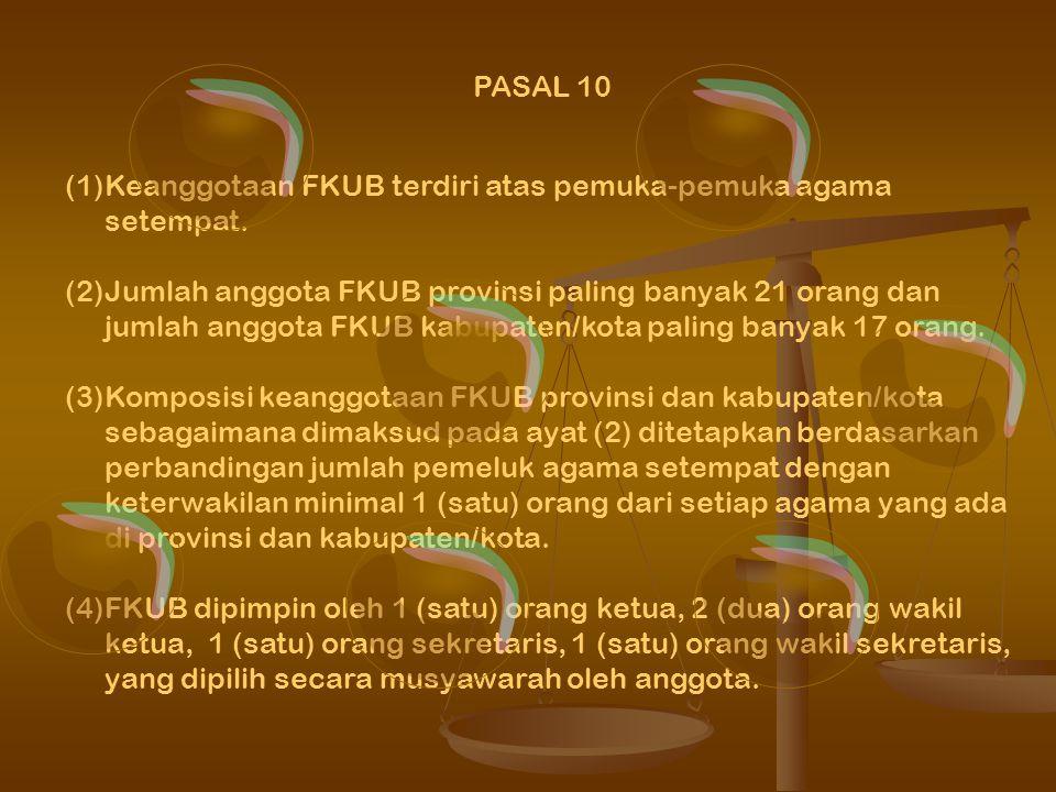 PASAL 9 (1) FKUB provinsi sebagaimana dimaksud dalam Pasal 8 ayat (1) mempunyai tugas: a.melakukan dialog dengan pemuka agama dan tokoh masyarakat b.m