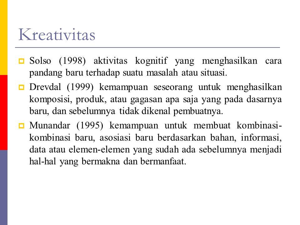 Kreativitas  Solso (1998) aktivitas kognitif yang menghasilkan cara pandang baru terhadap suatu masalah atau situasi.  Drevdal (1999) kemampuan sese