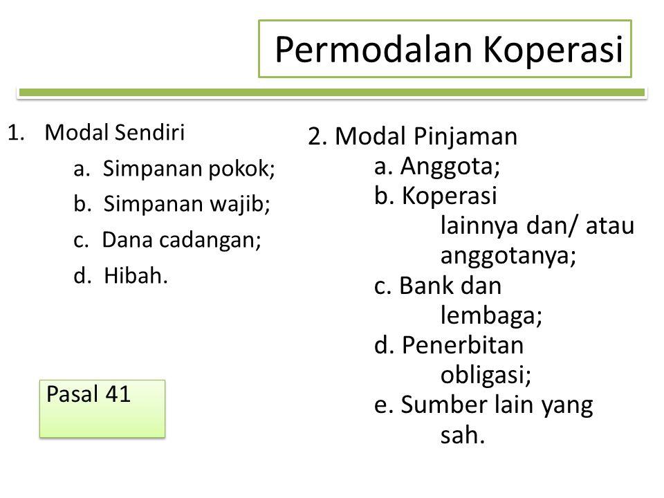 Permodalan Koperasi 1.Modal Sendiri a.Simpanan pokok; b.