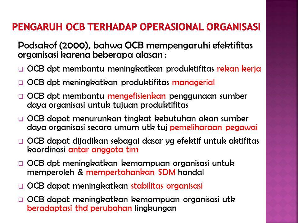 Podsakof (2000), bahwa OCB mempengaruhi efektifitas organisasi karena beberapa alasan :  OCB dpt membantu meningkatkan produktifitas rekan kerja  OCB dpt meningkatkan produktifitas managerial  OCB dpt membantu mengefisienkan penggunaan sumber daya organisasi untuk tujuan produktifitas  OCB dapat menurunkan tingkat kebutuhan akan sumber daya organisasi secara umum utk tuj pemeliharaan pegawai  OCB dapat dijadikan sebagai dasar yg efektif untuk aktifitas koordinasi antar anggota tim  OCB dpt meningkatkan kemampuan organisasi untuk memperoleh & mempertahankan SDM handal  OCB dapat meningkatkan stabilitas organisasi  OCB dapat meningkatkan kemampuan organisasi utk beradaptasi thd perubahan lingkungan
