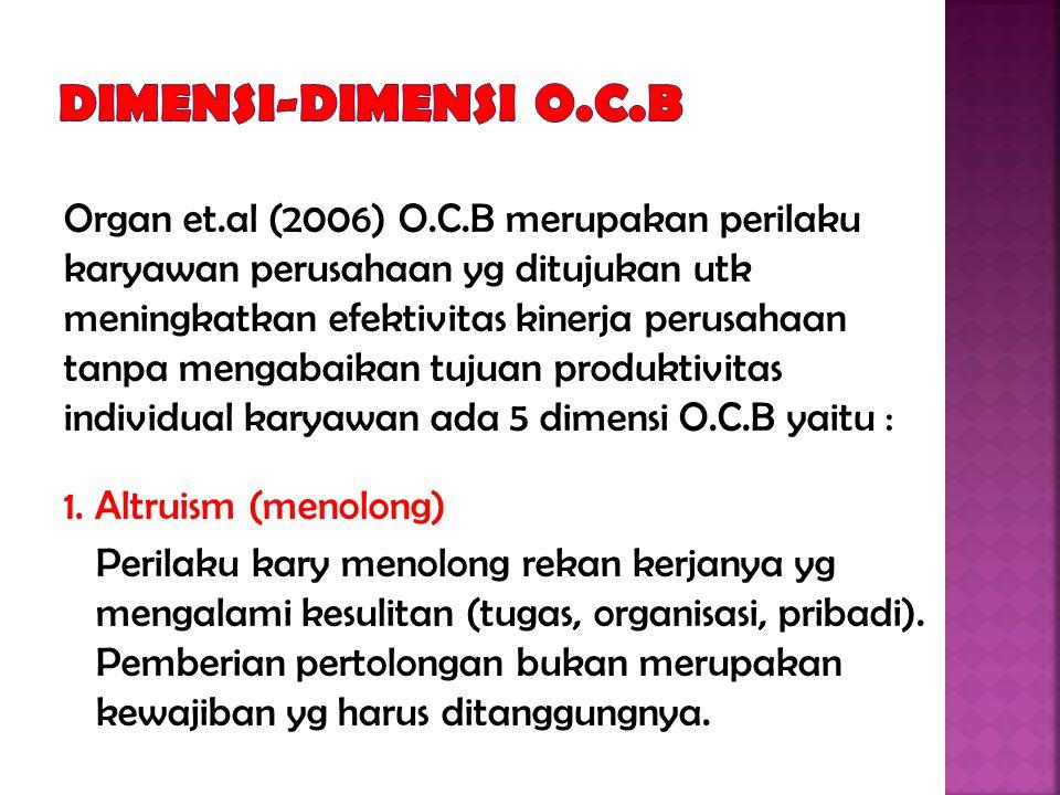 Organ et.al (2006) O.C.B merupakan perilaku karyawan perusahaan yg ditujukan utk meningkatkan efektivitas kinerja perusahaan tanpa mengabaikan tujuan produktivitas individual karyawan ada 5 dimensi O.C.B yaitu : 1.