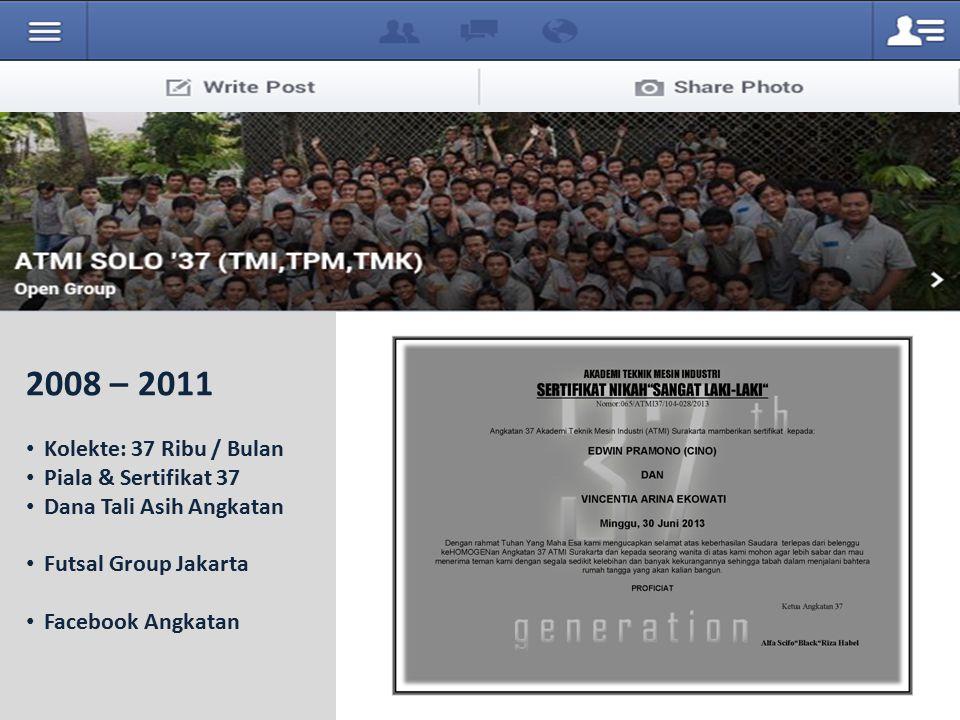 2008 – 2011 Kolekte: 37 Ribu / Bulan Piala & Sertifikat 37 Dana Tali Asih Angkatan Futsal Group Jakarta Facebook Angkatan