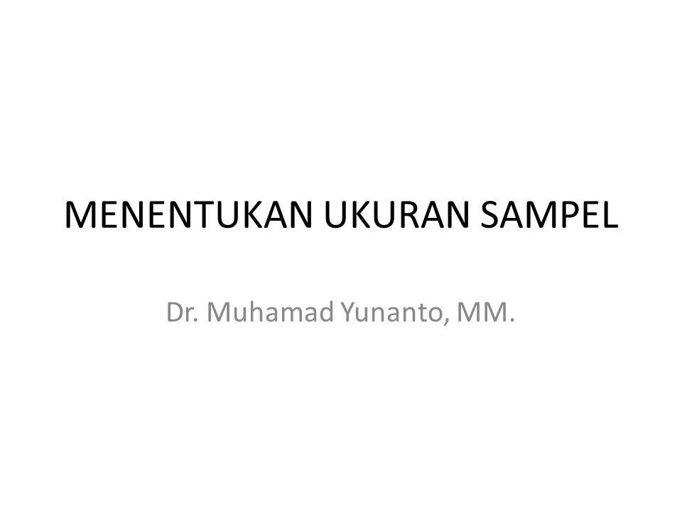MENENTUKAN UKURAN SAMPEL Dr. Muhamad Yunanto, MM.