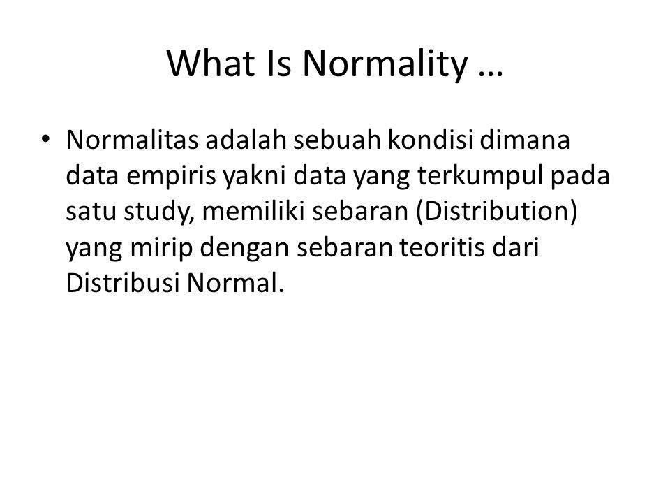 What Is Normality … Normalitas adalah sebuah kondisi dimana data empiris yakni data yang terkumpul pada satu study, memiliki sebaran (Distribution) yang mirip dengan sebaran teoritis dari Distribusi Normal.