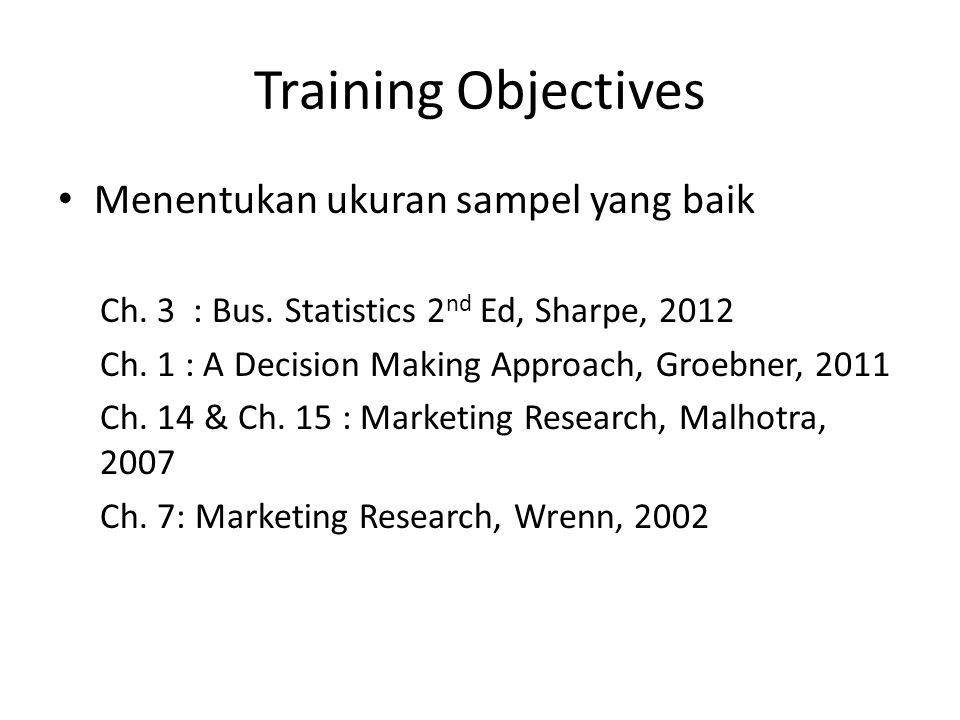 Training Objectives Menentukan ukuran sampel yang baik Ch.