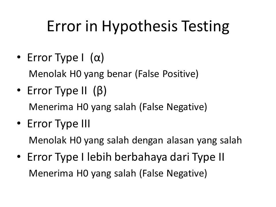Error in Hypothesis Testing Error Type I (α) Menolak H0 yang benar (False Positive) Error Type II (β) Menerima H0 yang salah (False Negative) Error Type III Menolak H0 yang salah dengan alasan yang salah Error Type I lebih berbahaya dari Type II Menerima H0 yang salah (False Negative)