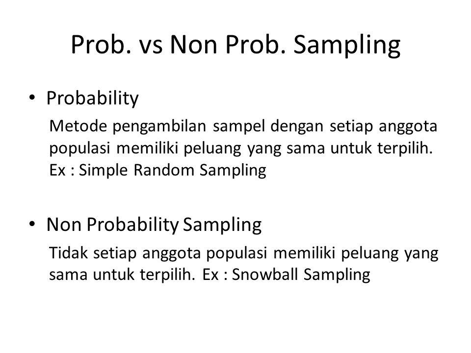Prob. vs Non Prob. Sampling
