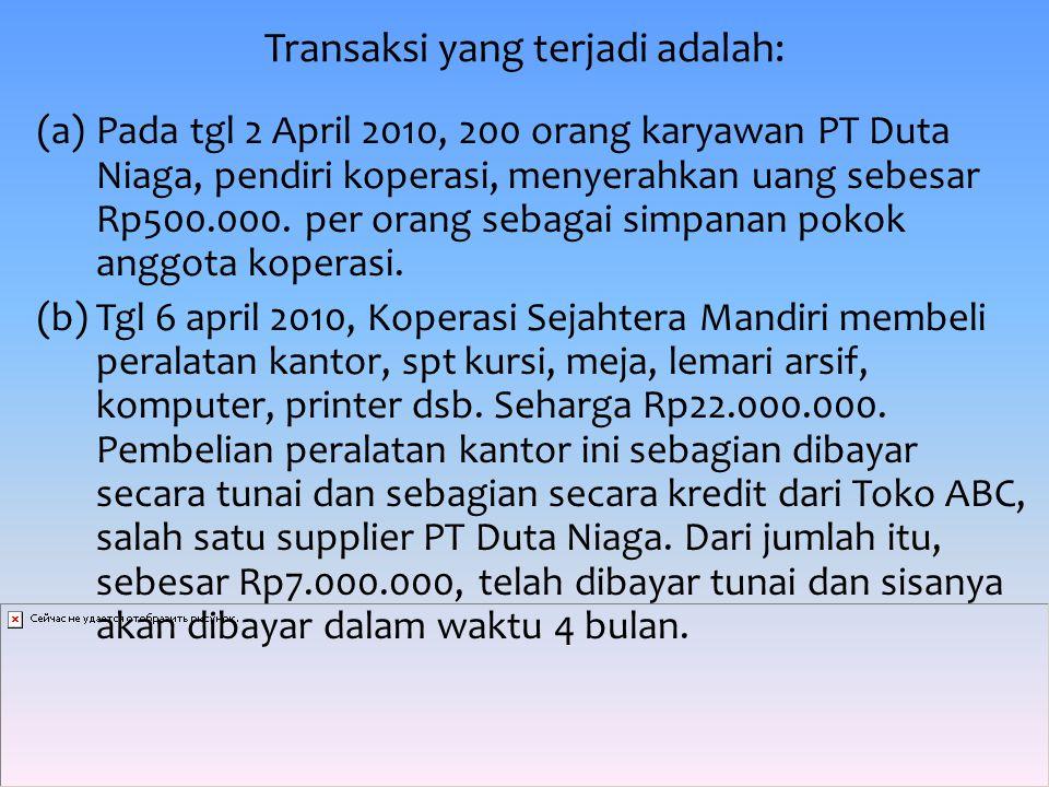 Transaksi yang terjadi adalah: (a)Pada tgl 2 April 2010, 200 orang karyawan PT Duta Niaga, pendiri koperasi, menyerahkan uang sebesar Rp500.000.