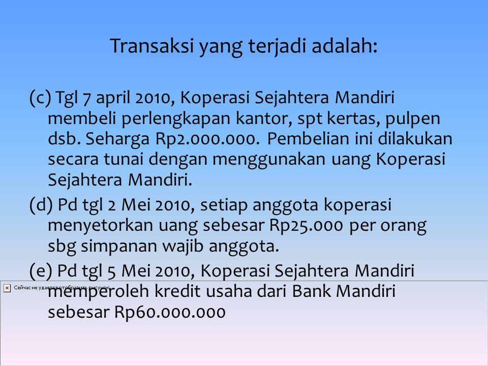 Transaksi yang terjadi adalah: (f) Pd tgl 6 mei 2010, sejumlah anggota koperasi menyimpan uangnya sbg simpanan sukarela sebesar Rp12.000.000 di Koperasi Sejahtera Mandiri.