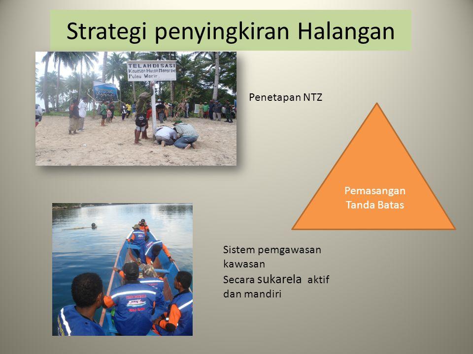 Strategi penyingkiran Halangan Pemasangan Tanda Batas Penetapan NTZ Sistem pemgawasan kawasan Secara sukarela aktif dan mandiri