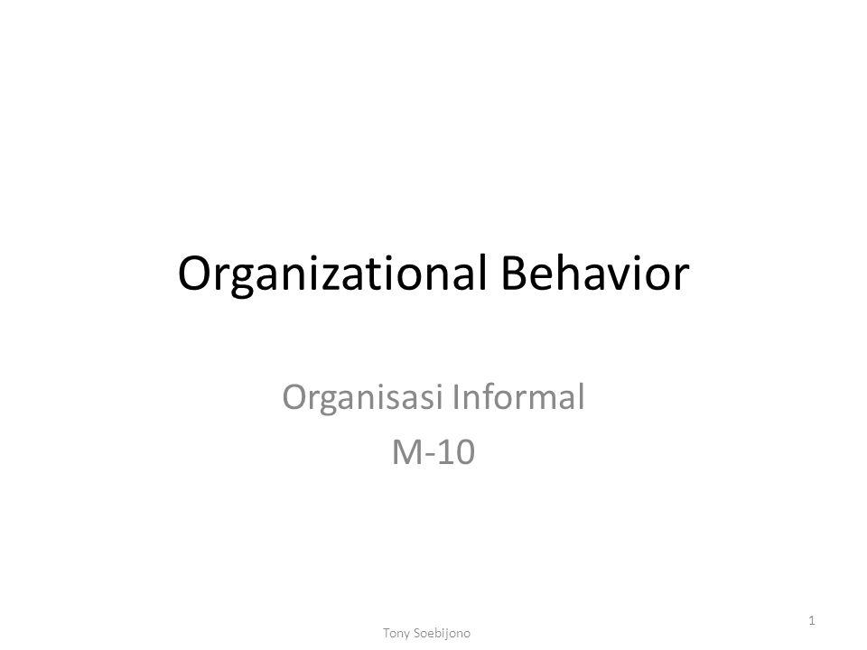 Organizational Behavior Organisasi Informal M-10 1 Tony Soebijono