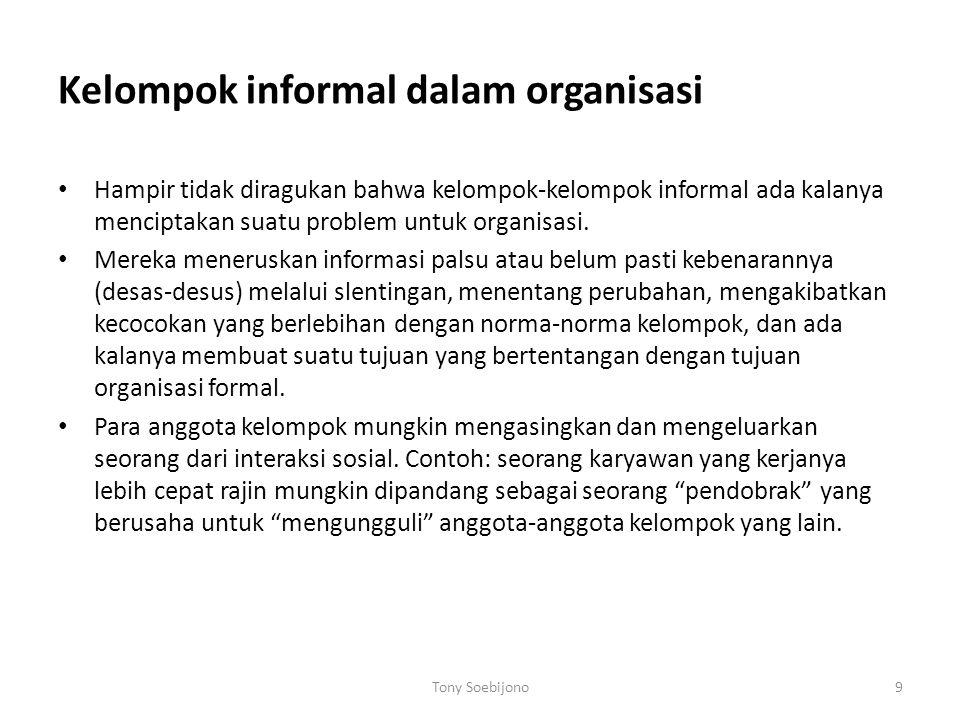 Kelompok informal dalam organisasi Hampir tidak diragukan bahwa kelompok-kelompok informal ada kalanya menciptakan suatu problem untuk organisasi. Mer