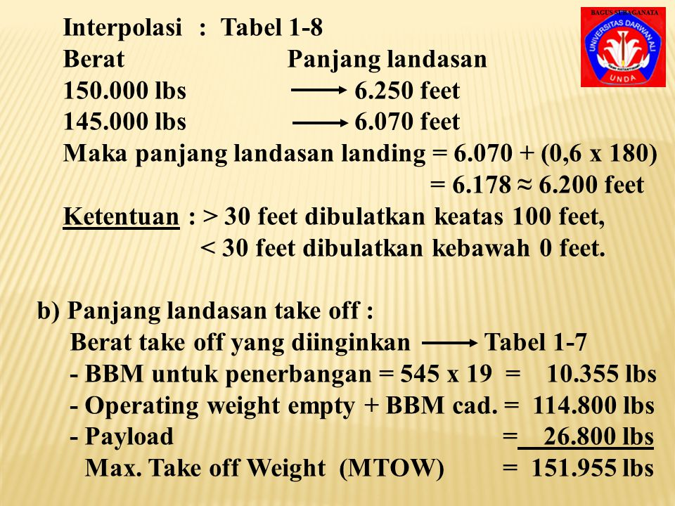 2) Tentukan panjang runway yang direncanakan, jika di – ketahui data-data sebagai berikut : - Pesawat Boeing 727-200 (Mesin JT 8D-7) - Temperatur Max.