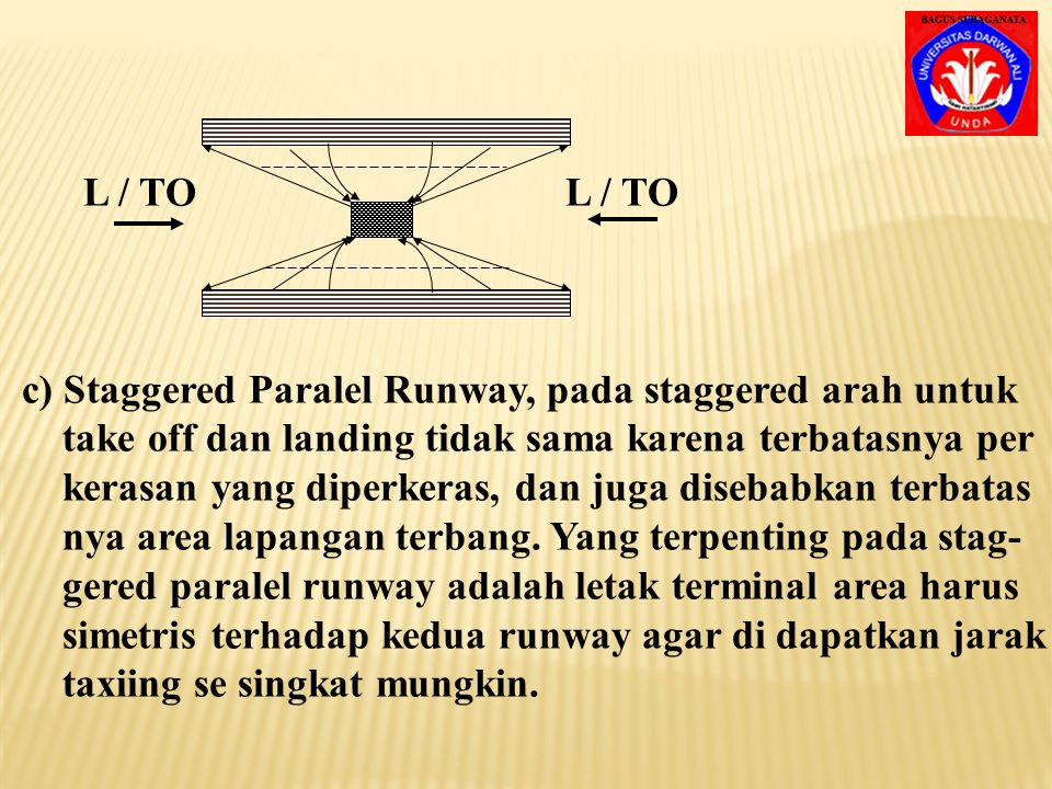 a) Single Runway, jarak taxiing pendek, maka jarak pesa- wat yang landing dan take off dibuat sama sehingga terminal area terletak di tengah-tengah an