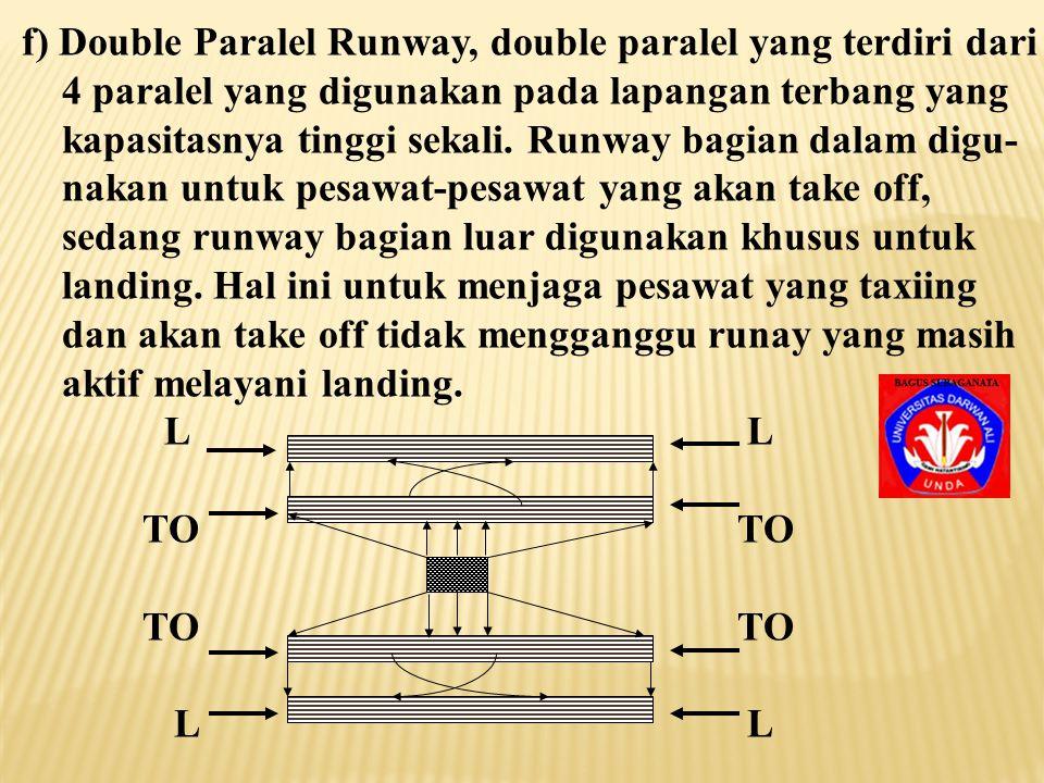 e) Single and Paralel Runway, bentuk single dan paralel seperti ini dipilih, disebabkan adanya angin besar satu arah yang terjadi satu kali dalam seta