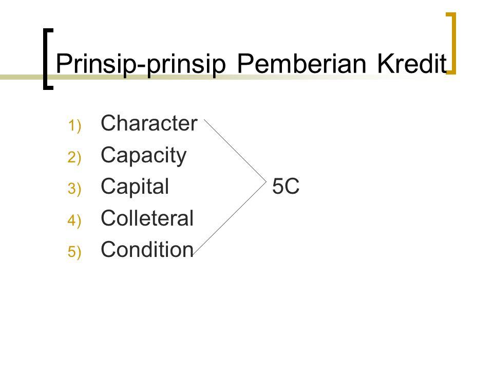 Prinsip-prinsip Pemberian Kredit 1) Character 2) Capacity 3) Capital 5C 4) Colleteral 5) Condition
