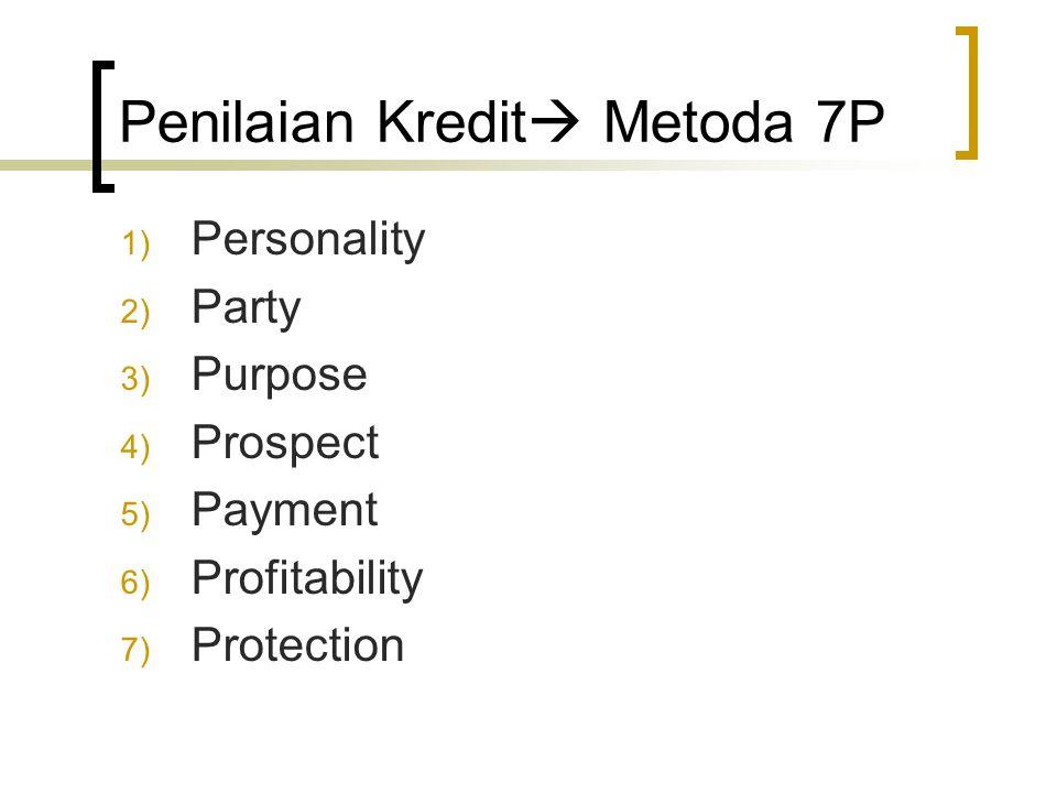 Penilaian Kredit  Metoda 7P 1) Personality 2) Party 3) Purpose 4) Prospect 5) Payment 6) Profitability 7) Protection