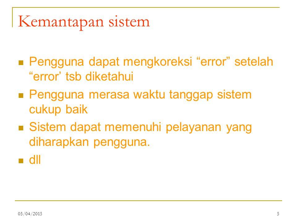 05/04/20155 Kemantapan sistem Pengguna dapat mengkoreksi error setelah error' tsb diketahui Pengguna merasa waktu tanggap sistem cukup baik Sistem dapat memenuhi pelayanan yang diharapkan pengguna.