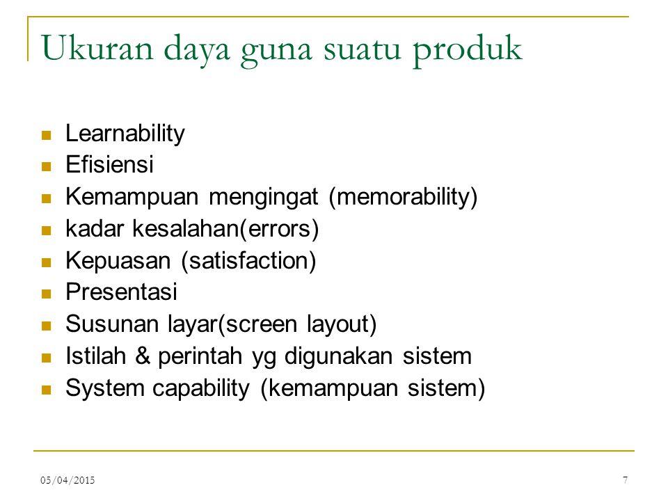 05/04/20157 Ukuran daya guna suatu produk Learnability Efisiensi Kemampuan mengingat (memorability) kadar kesalahan(errors) Kepuasan (satisfaction) Pr