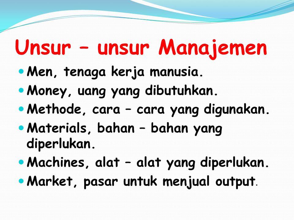 Unsur – unsur Manajemen Men, tenaga kerja manusia. Money, uang yang dibutuhkan. Methode, cara – cara yang digunakan. Materials, bahan – bahan yang dip