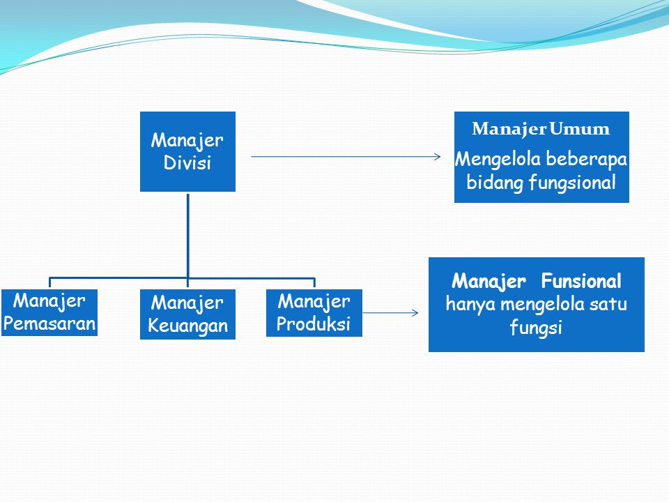 Manajer Divisi Manajer Pemasaran Manajer Keuangan Manajer Produksi Manajer Umum Mengelola beberapa bidang fungsional Manajer Funsional hanya mengelola