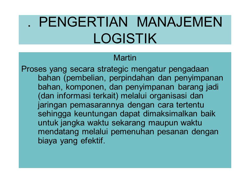 . PENGERTIAN MANAJEMEN LOGISTIK Martin Proses yang secara strategic mengatur pengadaan bahan (pembelian, perpindahan dan penyimpanan bahan, komponen,