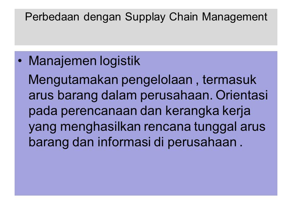Perbedaan dengan Supplay Chain Management Manajemen logistik Mengutamakan pengelolaan, termasuk arus barang dalam perusahaan. Orientasi pada perencana