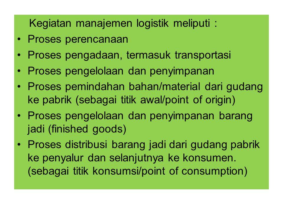 Kegiatan manajemen logistik meliputi : Proses perencanaan Proses pengadaan, termasuk transportasi Proses pengelolaan dan penyimpanan Proses pemindahan