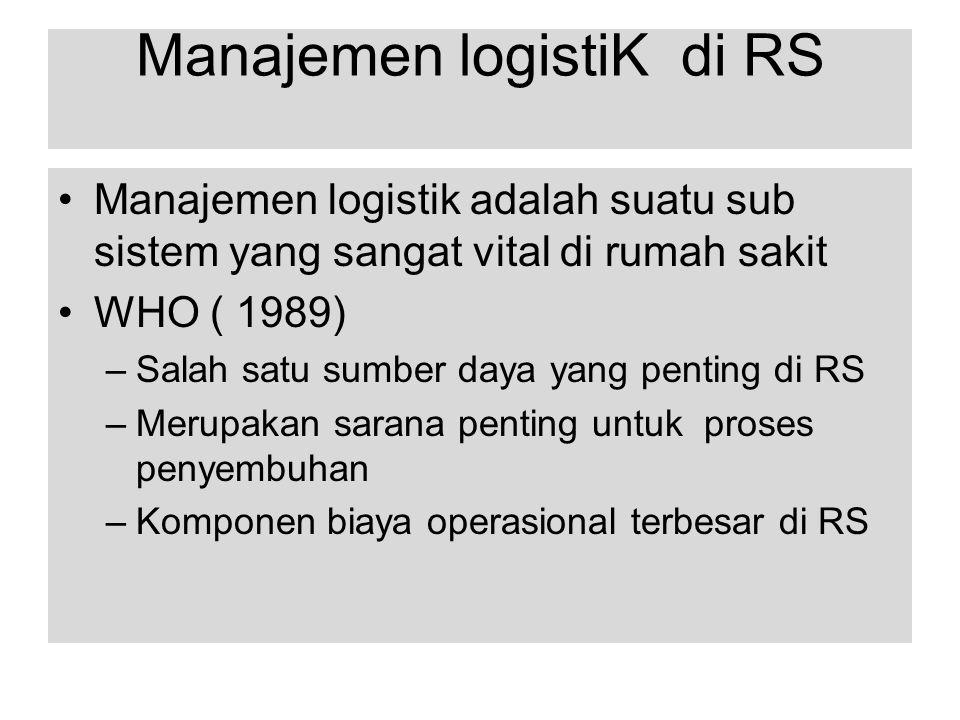 Manajemen logistiK di RS Manajemen logistik adalah suatu sub sistem yang sangat vital di rumah sakit WHO ( 1989) –Salah satu sumber daya yang penting