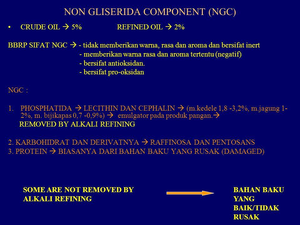 NON GLISERIDA COMPONENT (NGC) CRUDE OIL  5% REFINED OIL  2% BBRP SIFAT NGC  - tidak memberikan warna, rasa dan aroma dan bersifat inert - memberikan warna rasa dan aroma tertentu (negatif) - bersifat antioksidan.