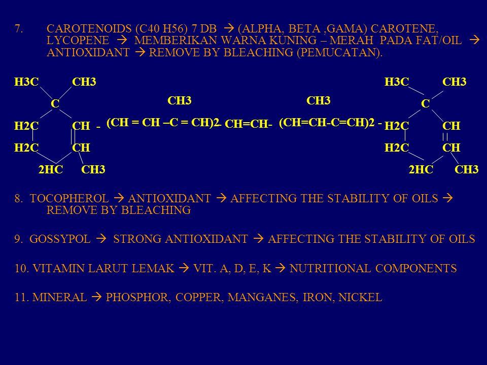 7.CAROTENOIDS (C40 H56) 7 DB  (ALPHA, BETA,GAMA) CAROTENE, LYCOPENE  MEMBERIKAN WARNA KUNING – MERAH PADA FAT/OIL  ANTIOXIDANT  REMOVE BY BLEACHING (PEMUCATAN).